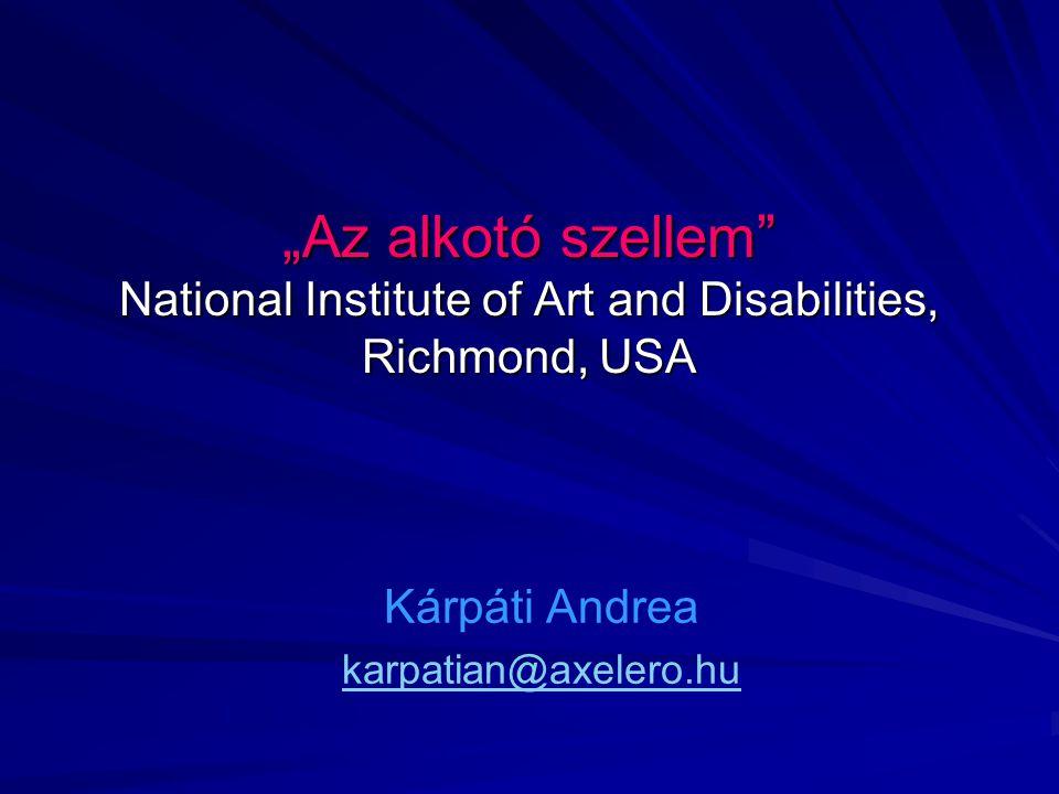A fogyatékkal élők egy amerikai művészetterápiás központja Cél: szabad önkifejezés, sokszínűség Nagy, közös térben sokféle médium, szabad választás és változtatás Művészetpedagógusok és terapeuták hetente együtt elemzik az alkotásokat Galéria: rendszeres kiállítások  művész- habitus.