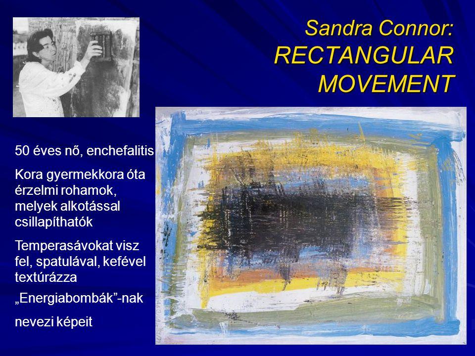 """Sandra Connor: RECTANGULAR MOVEMENT 50 éves nő, enchefalitis Kora gyermekkora óta érzelmi rohamok, melyek alkotással csillapíthatók Temperasávokat visz fel, spatulával, kefével textúrázza """"Energiabombák -nak nevezi képeit"""