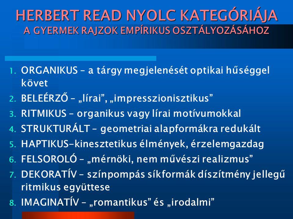 HERBERT READ NYOLC KATEGÓRIÁJA A GYERMEK RAJZOK EMPÍRIKUS OSZTÁLYOZÁSÁHOZ 1.