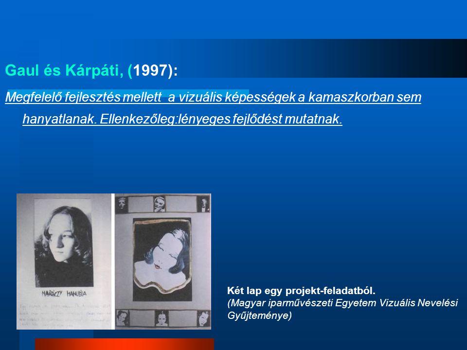 Gaul és Kárpáti, (1997): Megfelelő fejlesztés mellett a vizuális képességek a kamaszkorban sem hanyatlanak. Ellenkezőleg:lényeges fejlődést mutatnak.