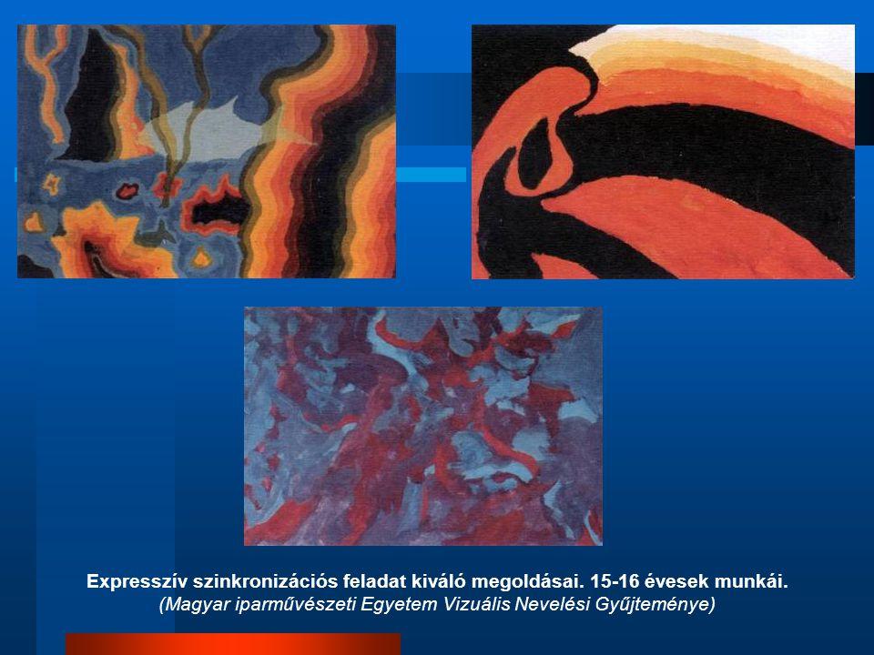 Expresszív szinkronizációs feladat kiváló megoldásai. 15-16 évesek munkái. (Magyar iparművészeti Egyetem Vizuális Nevelési Gyűjteménye)