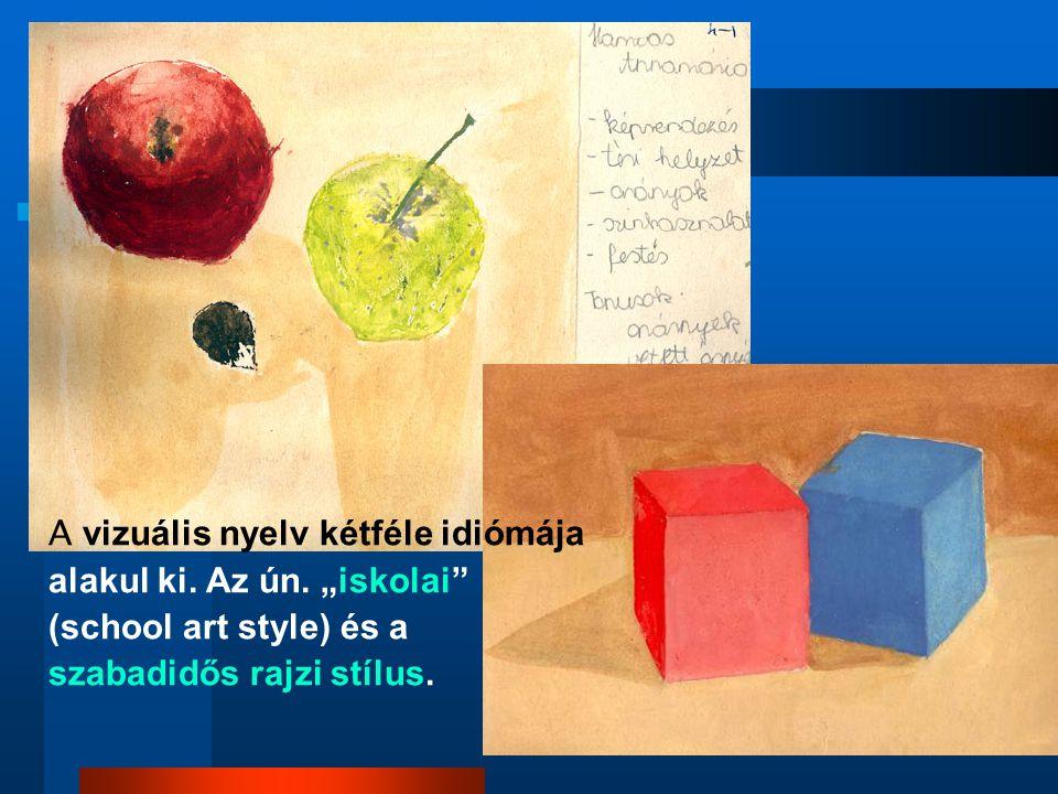 """A vizuális nyelv kétféle idiómája alakul ki. Az ún. """"iskolai"""" (school art style) és a szabadidős rajzi stílus."""