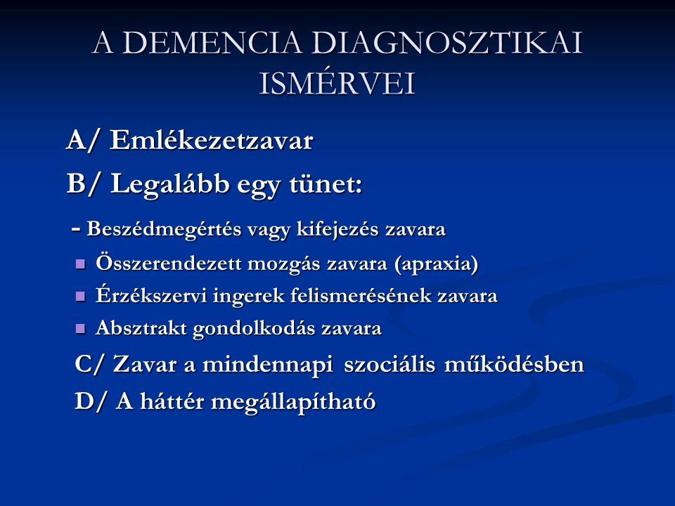 A DEMENCIÁK FŐCSOPORTJAI Elsődleges: agykérgi: kognitív hanyatlás (Alzheimer ) személyiségváltozás (homloklebeny ) személyiségváltozás (homloklebeny ) kéregalatti: mozgásos (Parkinson, Huntington) Másodlagos: éreredetű: (stroke, infarktus) fertőző : (agyvelőgyulladás, Creutzfeld-Jakob) egyéb: (vérszegénység, daganat, hormonzavar)