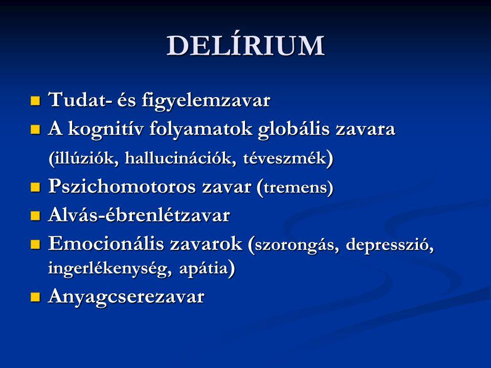 ORGANIKUS PSZICHOSZINDRÓMÁK Személyiségzavar ( intellektuális csökkenés, emocionális labilitás, szociális érzékenységcsökkenés, alkohol és gyógyszer intolerancia) Személyiségzavar ( intellektuális csökkenés, emocionális labilitás, szociális érzékenységcsökkenés, alkohol és gyógyszer intolerancia) Pszichózisok ( szkizoform, depressziós, paranoid ) Pszichózisok ( szkizoform, depressziós, paranoid ) Hallucinózisok Hallucinózisok Neurózisok Neurózisok