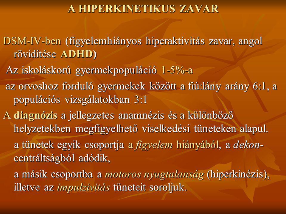 A HIPERKINETIKUS ZAVAR DSM-IV-ben (figyelemhiányos hiperaktivitás zavar, angol rövidítése ADHD) Az iskoláskorú gyermekpopuláció 1-5%-a Az iskoláskorú