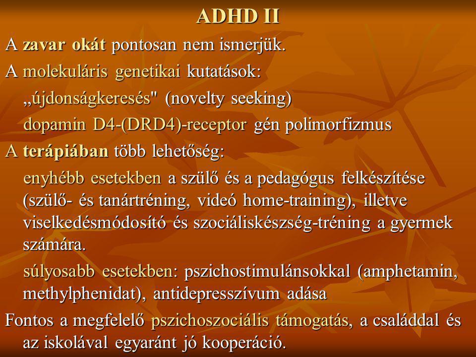 """ADHD II A zavar okát pontosan nem ismerjük. A molekuláris genetikai kutatások: """"újdonságkeresés"""
