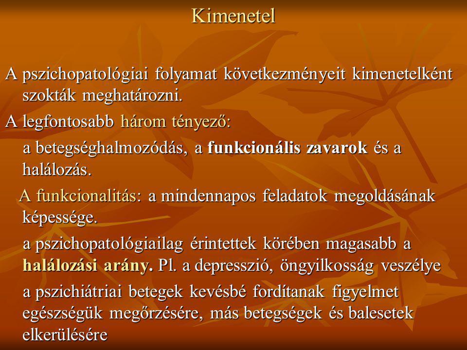 Kimenetel A pszichopatológiai folyamat következményeit kimenetelként szokták meghatározni. A legfontosabb három tényező: a betegséghalmozódás, a funkc