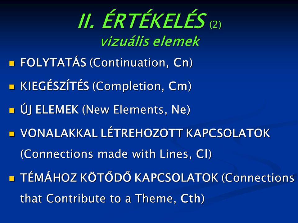 II. ÉRTÉKELÉS (2) vizuális elemek FOLYTATÁS (Continuation, Cn) FOLYTATÁS (Continuation, Cn) KIEGÉSZÍTÉS (Completion, Cm) KIEGÉSZÍTÉS (Completion, Cm)