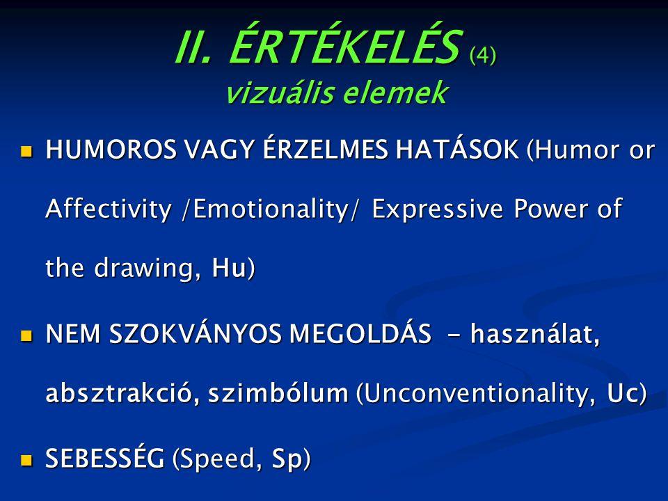 II. ÉRTÉKELÉS (4) vizuális elemek HUMOROS VAGY ÉRZELMES HATÁSOK (Humor or Affectivity /Emotionality/ Expressive Power of the drawing, Hu) HUMOROS VAGY