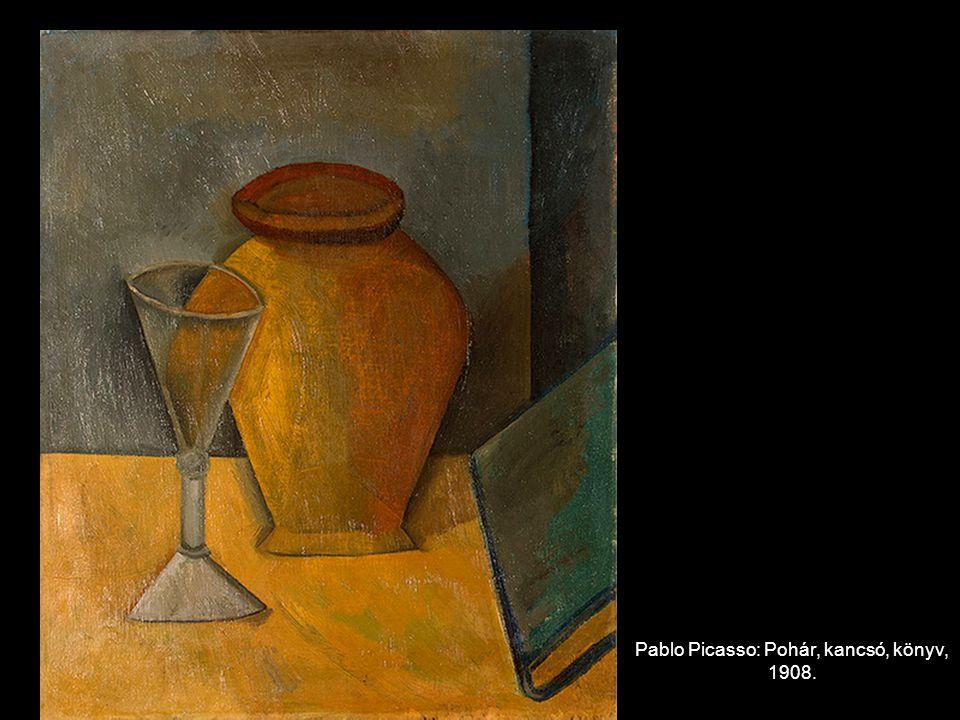 Pablo Picasso: Pohár, kancsó, könyv, 1908.