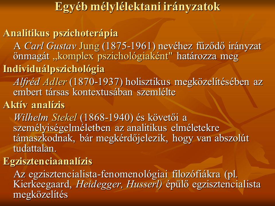 """Egyéb mélylélektani irányzatok Analitikus pszichoterápia A Carl Gustav Jung (1875-1961) nevéhez fűződő irányzat önmagát """"komplex pszichológiaként"""
