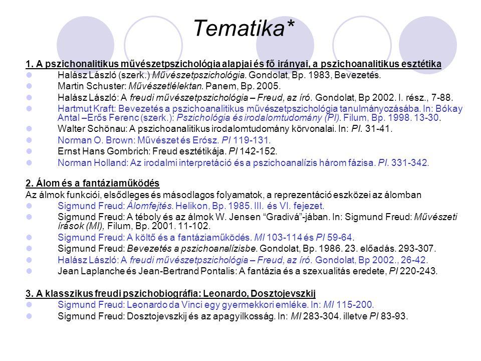 Tematika* 1. A pszichonalitikus művészetpszichológia alapjai és fő irányai, a pszichoanalitikus esztétika Halász László (szerk.) Művészetpszichológia.