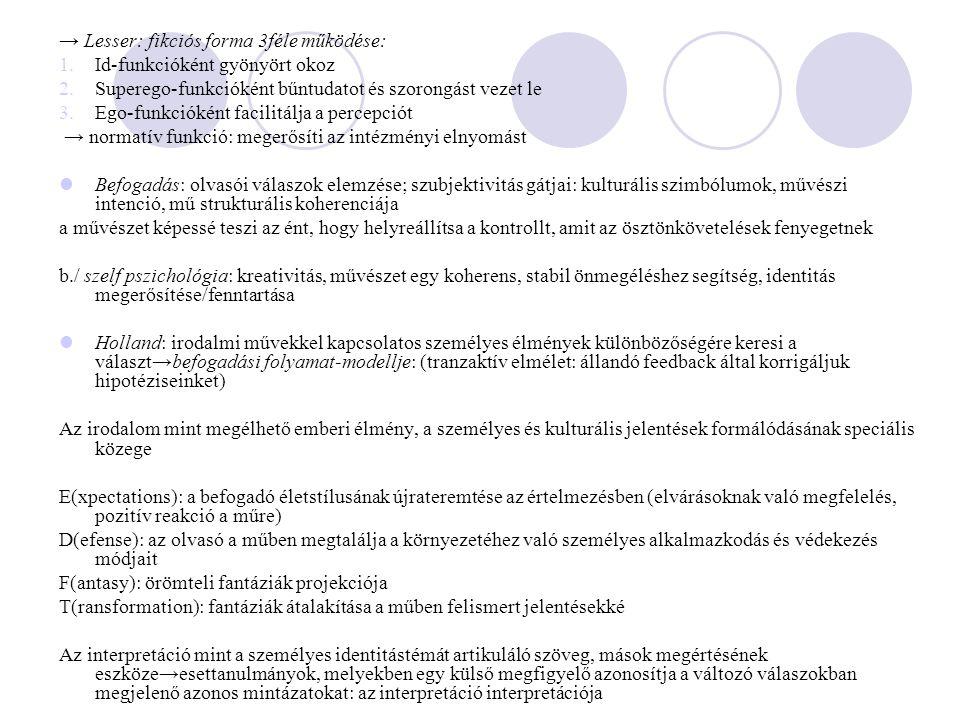 → Lesser: fikciós forma 3féle működése: 1.Id-funkcióként gyönyört okoz 2.Superego-funkcióként bűntudatot és szorongást vezet le 3.Ego-funkcióként facilitálja a percepciót → normatív funkció: megerősíti az intézményi elnyomást Befogadás: olvasói válaszok elemzése; szubjektivitás gátjai: kulturális szimbólumok, művészi intenció, mű strukturális koherenciája a művészet képessé teszi az ént, hogy helyreállítsa a kontrollt, amit az ösztönkövetelések fenyegetnek b./ szelf pszichológia: kreativitás, művészet egy koherens, stabil önmegéléshez segítség, identitás megerősítése/fenntartása Holland: irodalmi művekkel kapcsolatos személyes élmények különbözőségére keresi a választ→befogadási folyamat-modellje: (tranzaktív elmélet: állandó feedback által korrigáljuk hipotéziseinket) Az irodalom mint megélhető emberi élmény, a személyes és kulturális jelentések formálódásának speciális közege E(xpectations): a befogadó életstílusának újrateremtése az értelmezésben (elvárásoknak való megfelelés, pozitív reakció a műre) D(efense): az olvasó a műben megtalálja a környezetéhez való személyes alkalmazkodás és védekezés módjait F(antasy): örömteli fantáziák projekciója T(ransformation): fantáziák átalakítása a műben felismert jelentésekké Az interpretáció mint a személyes identitástémát artikuláló szöveg, mások megértésének eszköze→esettanulmányok, melyekben egy külső megfigyelő azonosítja a változó válaszokban megjelenő azonos mintázatokat: az interpretáció interpretációja