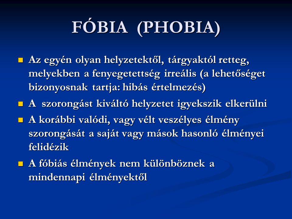 A FÓBIÁK Tériszony (agoraphobia): Nyílt téren, zárt helyen, magasban, az otthon elhagyásakor, egyedüllétben, tömegben Tériszony (agoraphobia): Nyílt téren, zárt helyen, magasban, az otthon elhagyásakor, egyedüllétben, tömegben Szociális fóbia : közösségben való megnyilvánulás, társas kapcsolatokban Szociális fóbia : közösségben való megnyilvánulás, társas kapcsolatokban Egyszerű fóbiák : állat, sérülés, fertőzés, vér, sötét, idegenek, nyilvános WC, hegyes tárgyak, vihar Egyszerű fóbiák : állat, sérülés, fertőzés, vér, sötét, idegenek, nyilvános WC, hegyes tárgyak, vihar
