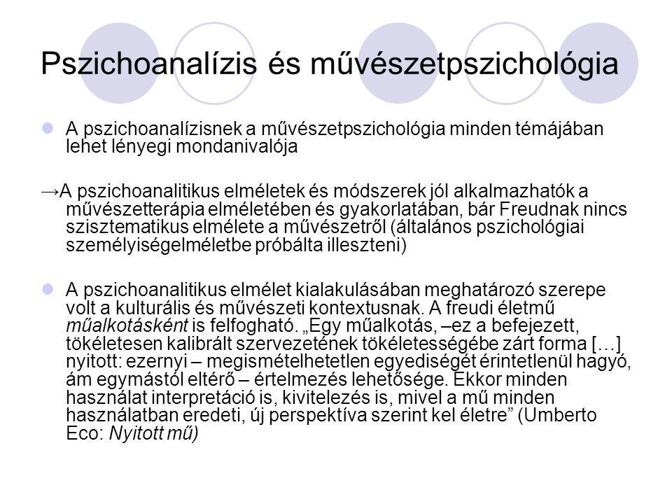 Pszichoanalízis és művészetpszichológia A pszichoanalízisnek a művészetpszichológia minden témájában lehet lényegi mondanivalója → A pszichoanalitikus