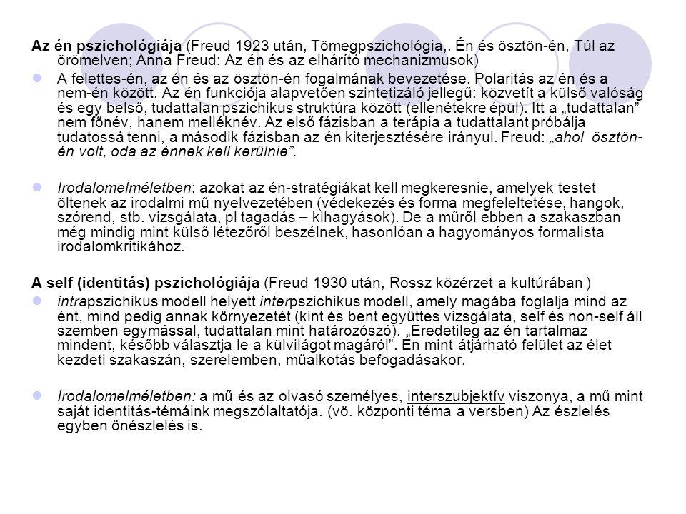Az én pszichológiája (Freud 1923 után, Tömegpszichológia,. Én és ösztön-én, Túl az örömelven; Anna Freud: Az én és az elhárító mechanizmusok) A felett