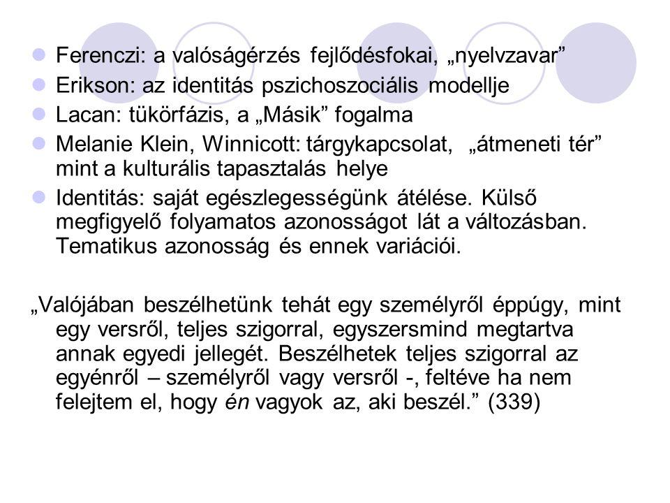 """Ferenczi: a valóságérzés fejlődésfokai, """"nyelvzavar"""" Erikson: az identitás pszichoszociális modellje Lacan: tükörfázis, a """"Másik"""" fogalma Melanie Klei"""