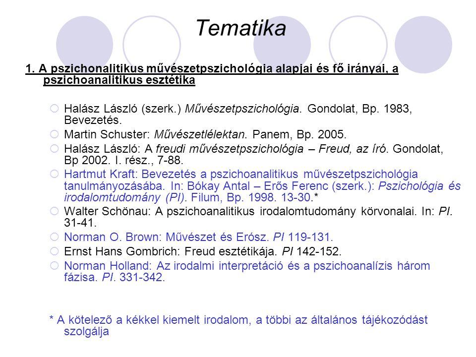 Tematika 1. A pszichonalitikus művészetpszichológia alapjai és fő irányai, a pszichoanalitikus esztétika  Halász László (szerk.) Művészetpszichológia