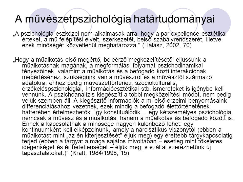 Esztétika, művészetfilozófia (Kant, Hegel, Nietzsche, Heidegger, Benjamin, Adorno) Művészettörténet, irodalomtörténet Művészetszociológia Antropológia Nyelvtudomány (poétika) Média-tudomány, kommunikáció Pedagógia Pszichiátria, pszichoterápia