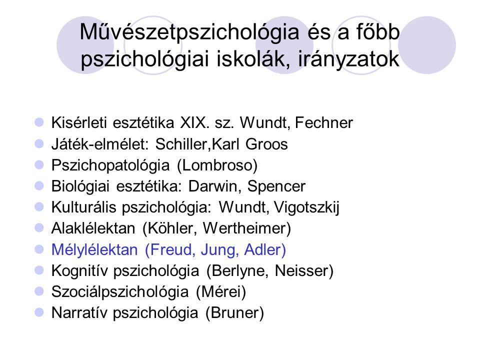 Művészetpszichológia és a főbb pszichológiai iskolák, irányzatok Kisérleti esztétika XIX. sz. Wundt, Fechner Játék-elmélet: Schiller,Karl Groos Pszich