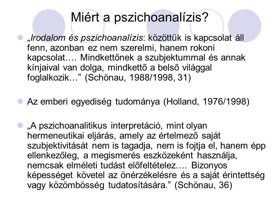 """Miért a pszichoanalízis? """"Irodalom és pszichoanalízis: közöttük is kapcsolat áll fenn, azonban ez nem szerelmi, hanem rokoni kapcsolat…. Mindkettőnek"""