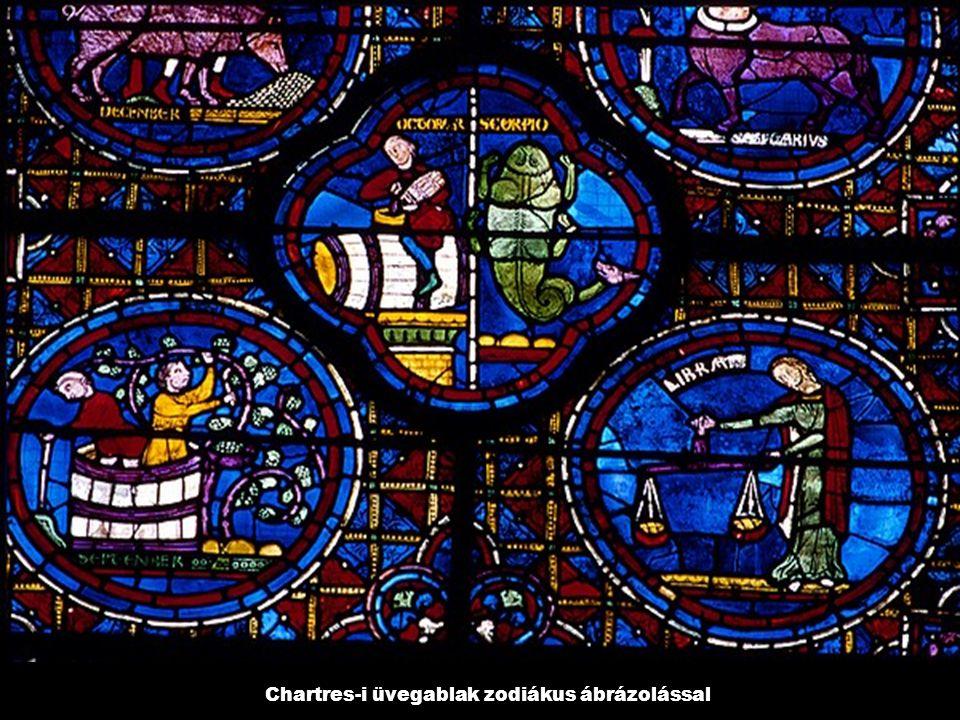 Chartres-i üvegablak zodiákus ábrázolással