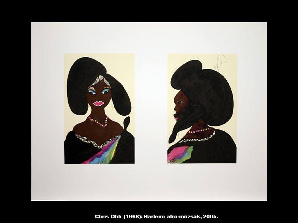 Chris Ofili (1968): Harlemi afro-múzsák, 2005.