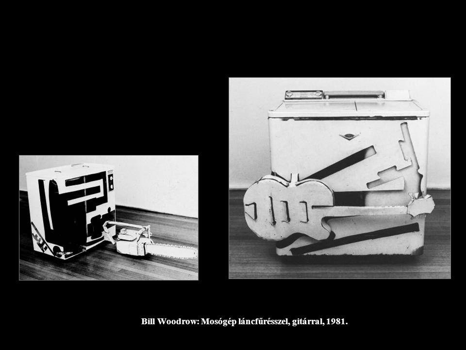 Bill Woodrow: Mosógép láncfűrésszel, gitárral, 1981.