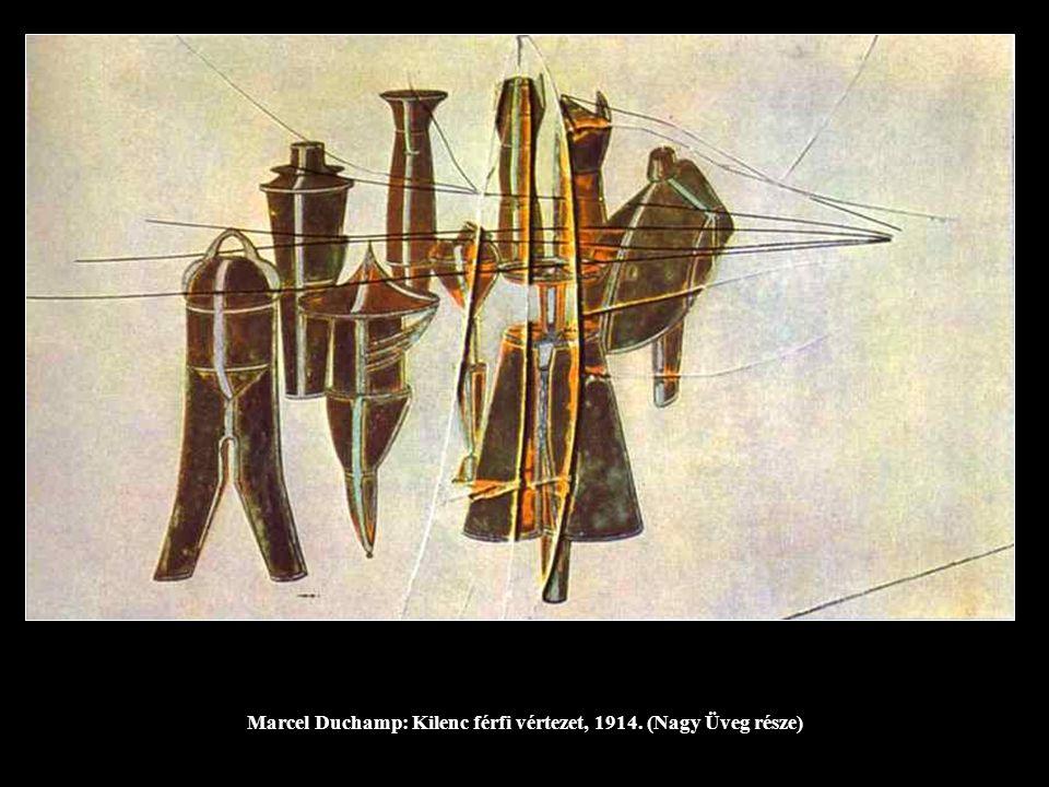 Marcel Duchamp: Kilenc férfi vértezet, 1914. (Nagy Üveg része)