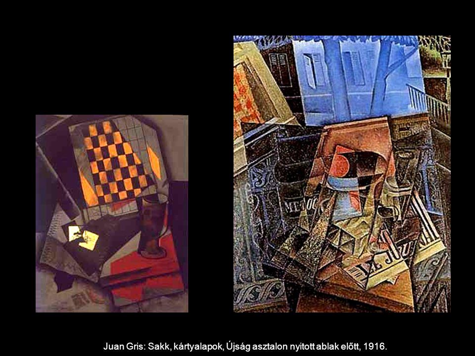 Juan Gris: Sakk, kártyalapok, Újság asztalon nyitott ablak előtt, 1916.