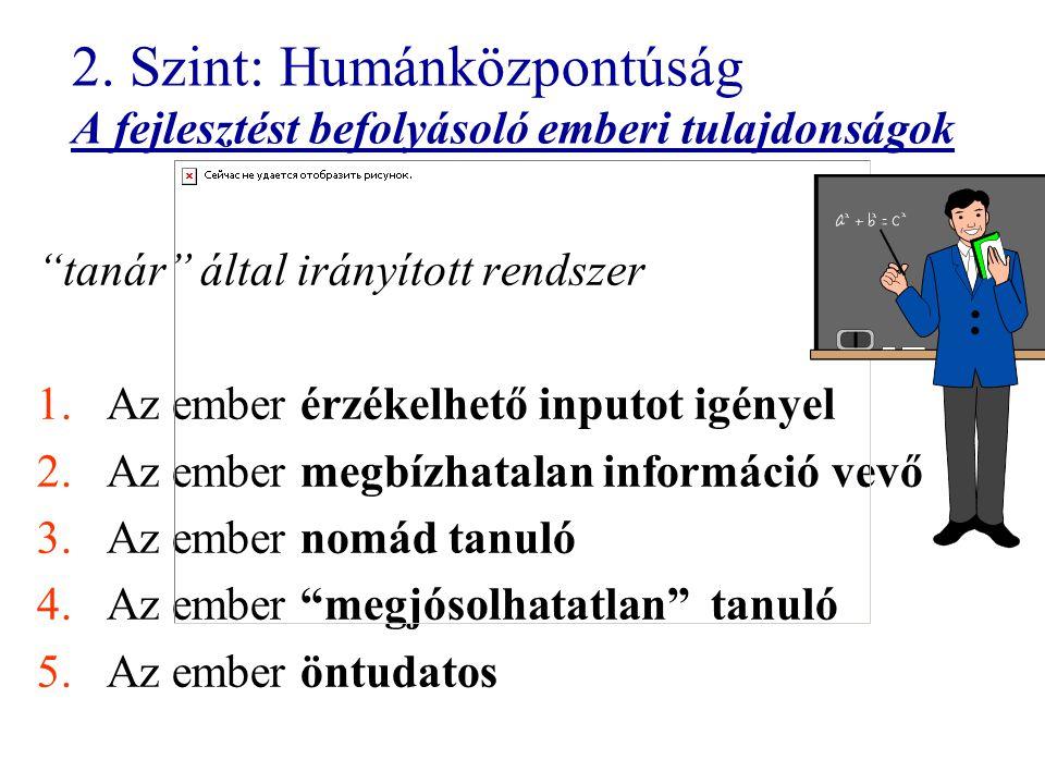 """2. Szint: Humánközpontúság A fejlesztést befolyásoló emberi tulajdonságok """"tanár"""" által irányított rendszer 1.Az ember érzékelhető inputot igényel 2.A"""