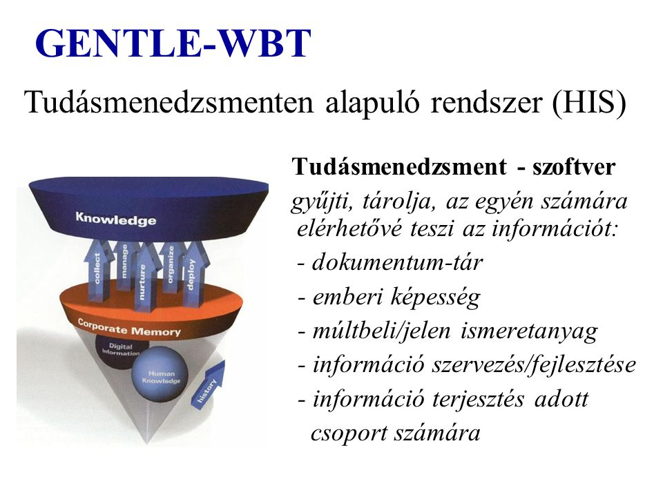 GENTLE-WBT Tudásmenedzsment - szoftver gyűjti, tárolja, az egyén számára elérhetővé teszi az információt: - dokumentum-tár - emberi képesség - múltbel