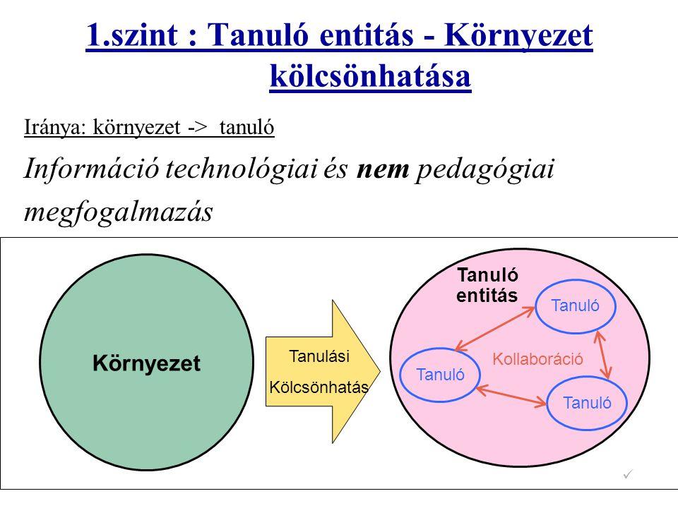 1.szint : Tanuló entitás - Környezet kölcsönhatása Iránya: környezet -> tanuló Információ technológiai és nem pedagógiai megfogalmazás Tanuló Tanuló e