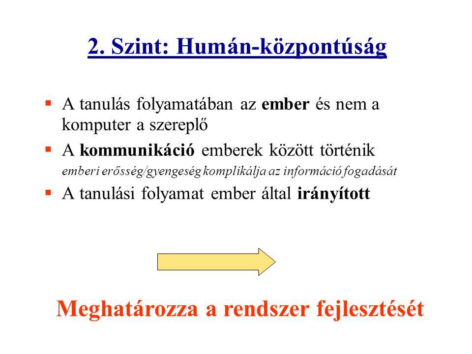 2. Szint: Humán-központúság  A tanulás folyamatában az ember és nem a komputer a szereplő  A kommunikáció emberek között történik emberi erősség/gye