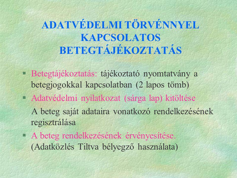 ADATVÉDELMI TÖRVÉNNYEL KAPCSOLATOS BETEGTÁJÉKOZTATÁS §Betegtájékoztatás: tájékoztató nyomtatvány a betegjogokkal kapcsolatban (2 lapos tömb) §Adatvéde