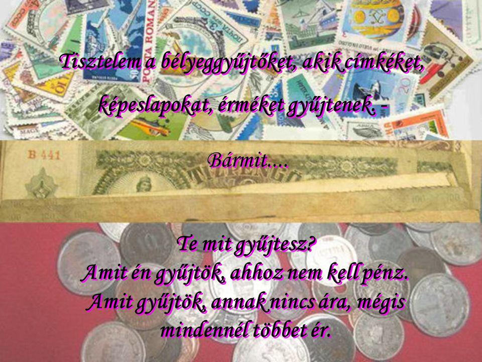 Tisztelem a bélyeggyűjtőket, akik címkéket, képeslapokat, érméket gyűjtenek.