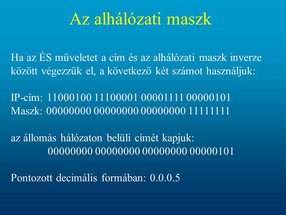 Az alhálózati maszk Ha az ÉS műveletet a cím és az alhálózati maszk inverze között végezzük el, a következő két számot használjuk: IP-cím: 11000100 11100001 00001111 00000101 Maszk: 00000000 00000000 00000000 11111111 az állomás hálózaton belüli címét kapjuk: 00000000 00000000 00000000 00000101 Pontozott decimális formában: 0.0.0.5