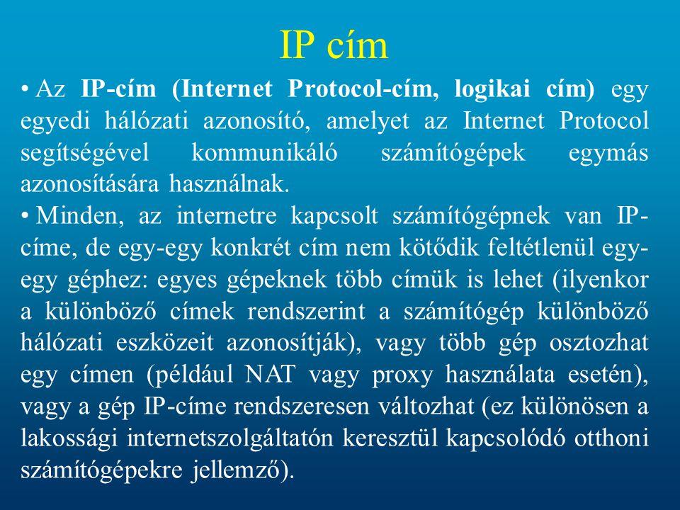 IP cím Az IP-cím (Internet Protocol-cím, logikai cím) egy egyedi hálózati azonosító, amelyet az Internet Protocol segítségével kommunikáló számítógépek egymás azonosítására használnak.