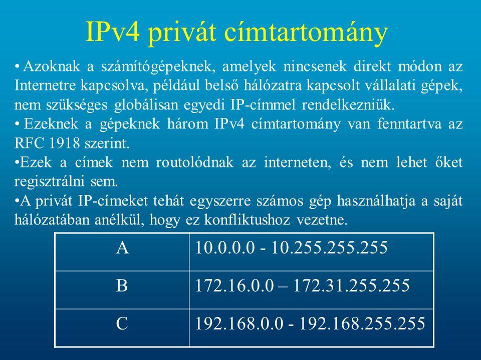 IPv4 privát címtartomány Azoknak a számítógépeknek, amelyek nincsenek direkt módon az Internetre kapcsolva, például belső hálózatra kapcsolt vállalati gépek, nem szükséges globálisan egyedi IP-címmel rendelkezniük.