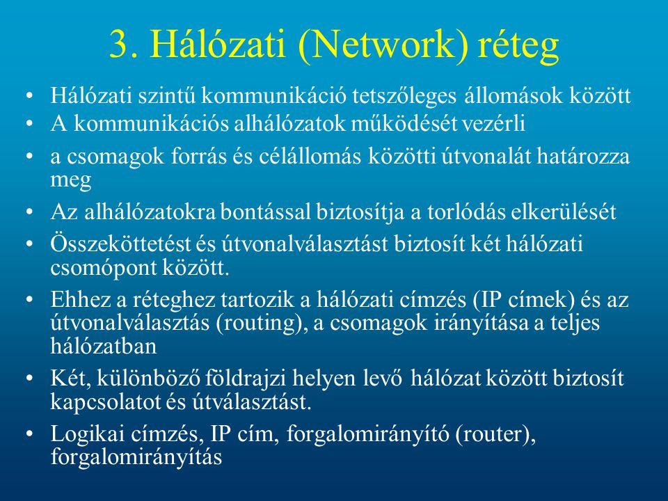 3. Hálózati (Network) réteg Hálózati szintű kommunikáció tetszőleges állomások között A kommunikációs alhálózatok működését vezérli a csomagok forrás