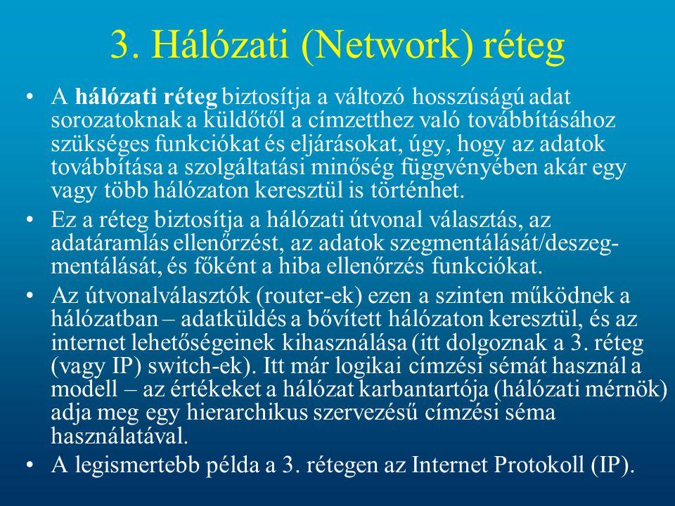 3. Hálózati (Network) réteg A hálózati réteg biztosítja a változó hosszúságú adat sorozatoknak a küldőtől a címzetthez való továbbításához szükséges f