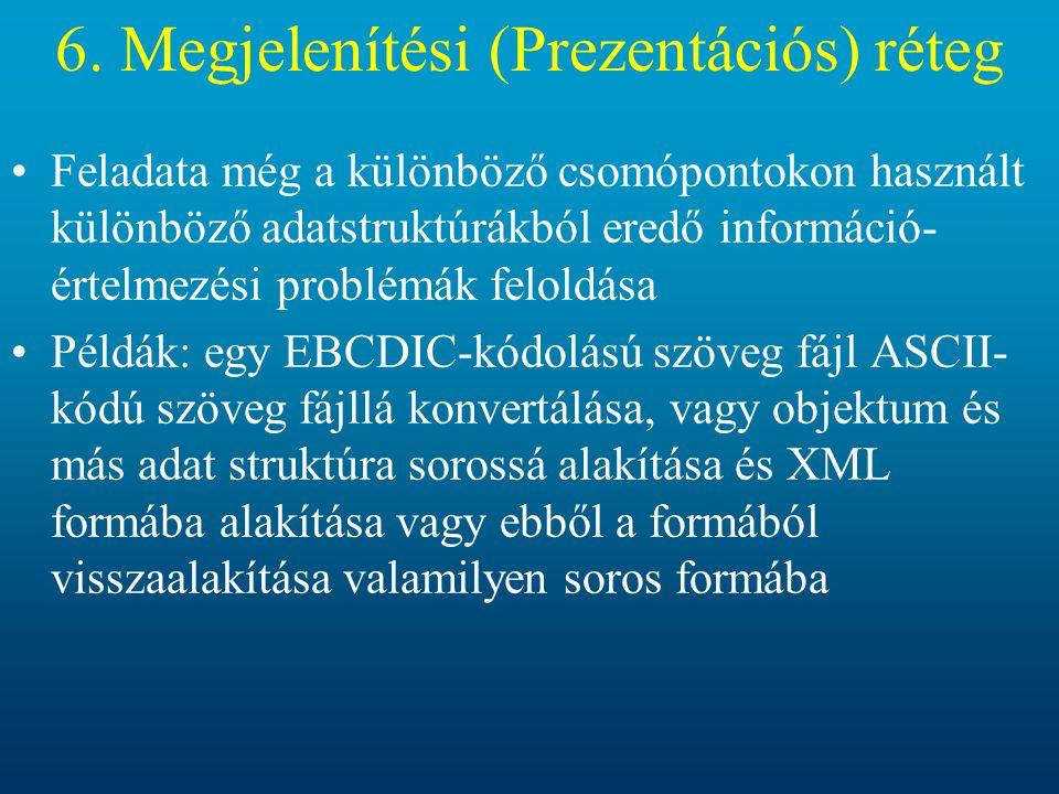 6. Megjelenítési (Prezentációs) réteg Feladata még a különböző csomópontokon használt különböző adatstruktúrákból eredő információ- értelmezési problé