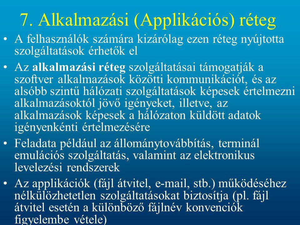 7. Alkalmazási (Applikációs) réteg A felhasználók számára kizárólag ezen réteg nyújtotta szolgáltatások érhetők el Az alkalmazási réteg szolgáltatásai