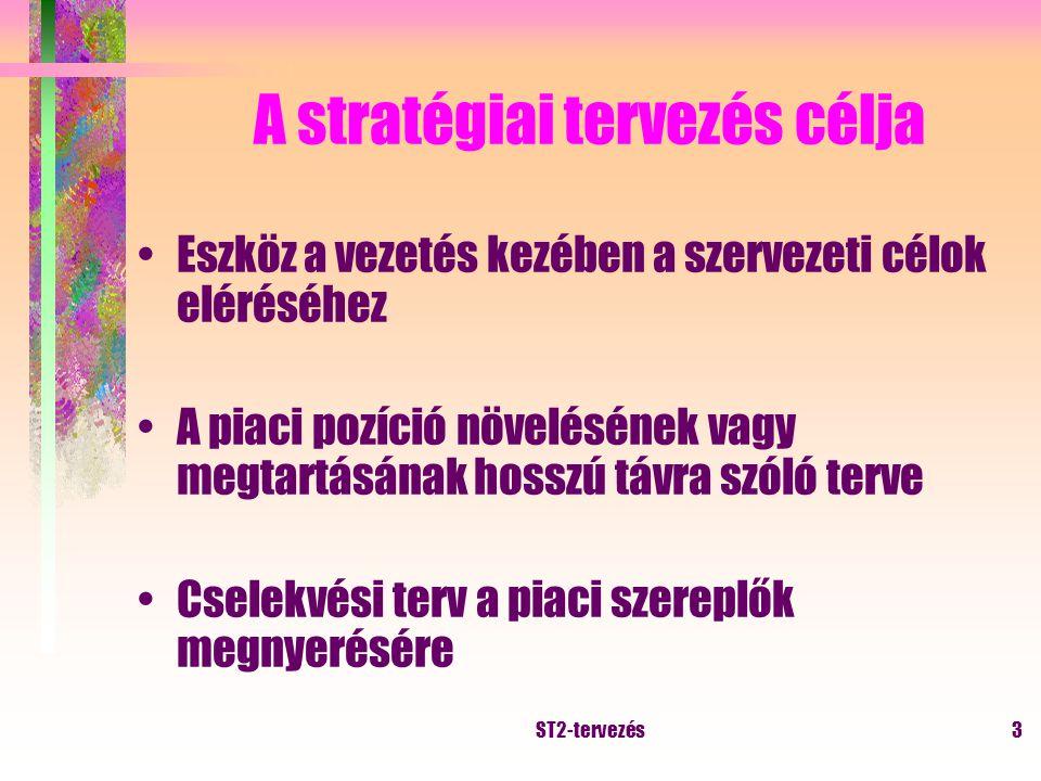 ST2-tervezés2 A stratégiai döntések megvalósítása szinte minden esetben a vállalati erőforrások megváltoztatását, átrendezését igénylik.