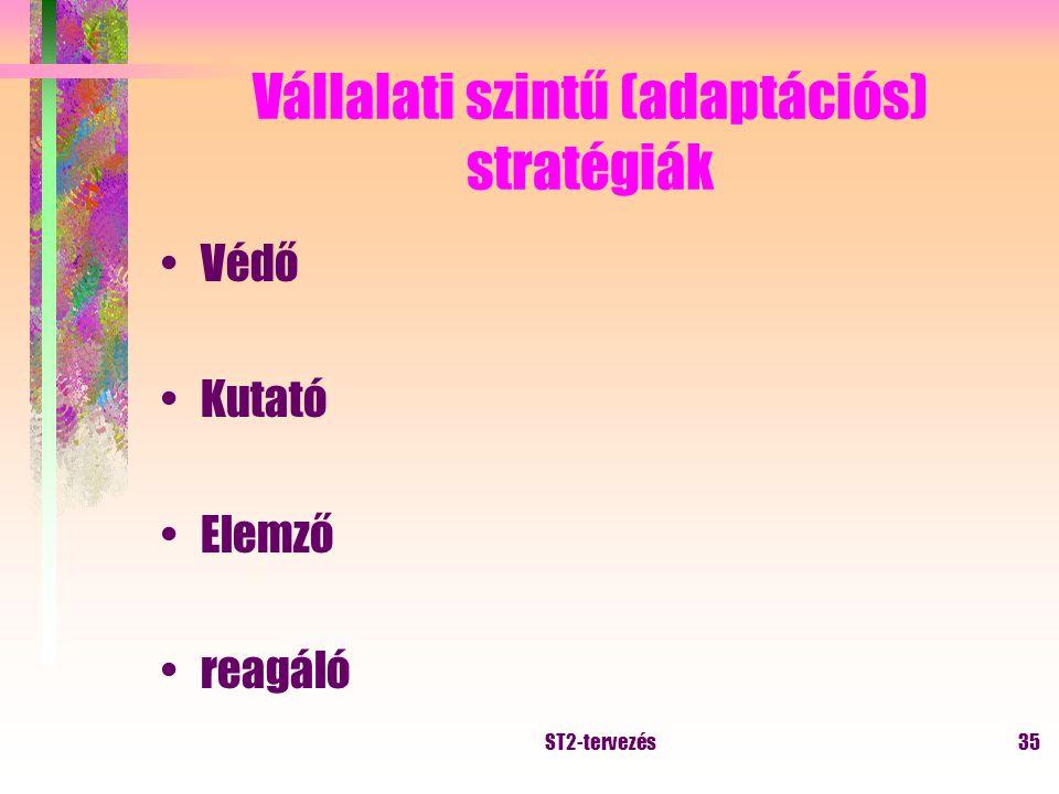 ST2-tervezés34 Vállalati szintű stratégiák vállalati tevékenységi szerkezet meghatározása portfólió kiegyensúlyozása Tipikus vállalati stratégiák: –cég alapvető fejlődési iránya; –divízió megszüntetés, eladás; –új tevékenység, új divízió; –profilbővítő üzlet vásárlása; –meglévő divízió fejlődési irány kijelölése; –feltáró kutatás indítása.