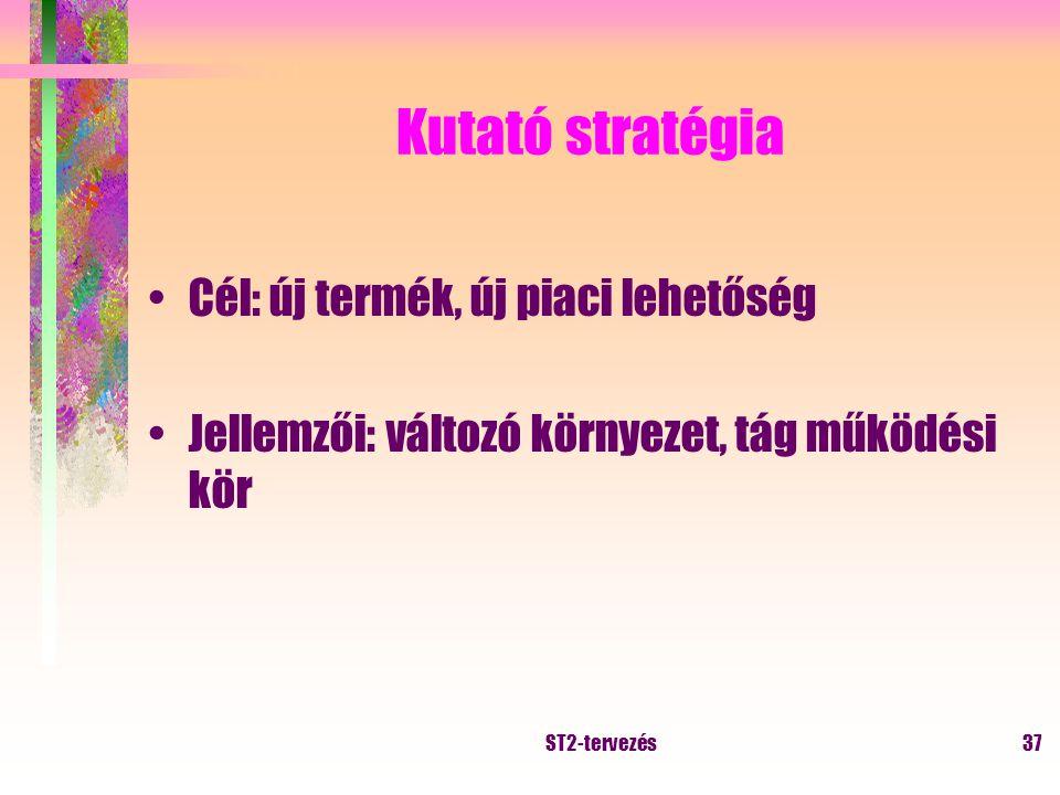 ST2-tervezés36 Védő stratégia Cél: a pozíció megtartása Jellemzői: stabil környezet, szűk működési kör