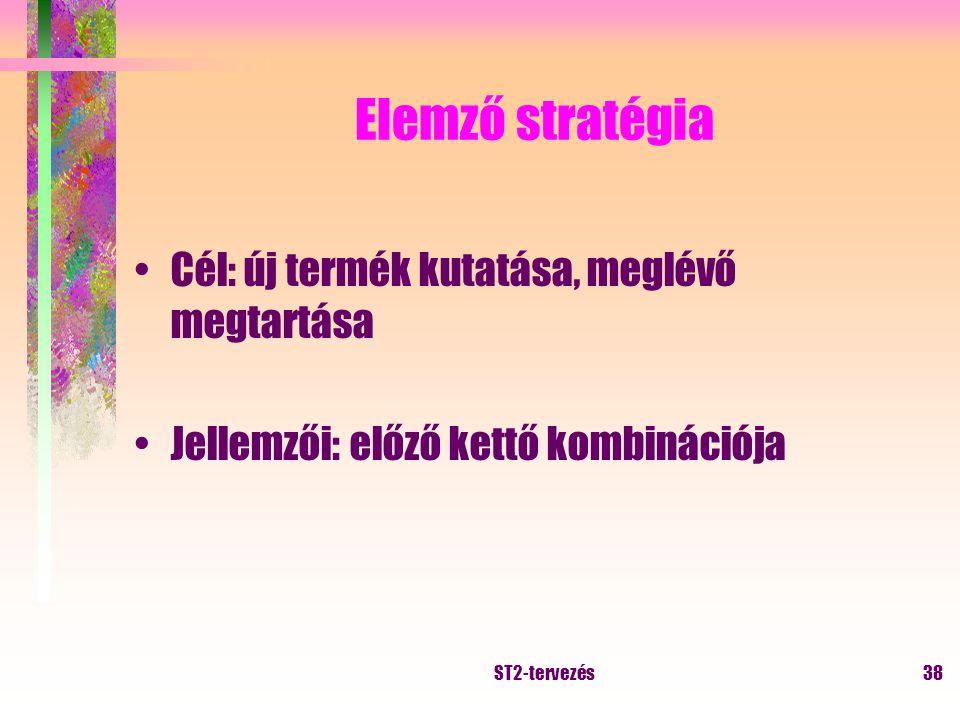 ST2-tervezés37 Kutató stratégia Cél: új termék, új piaci lehetőség Jellemzői: változó környezet, tág működési kör