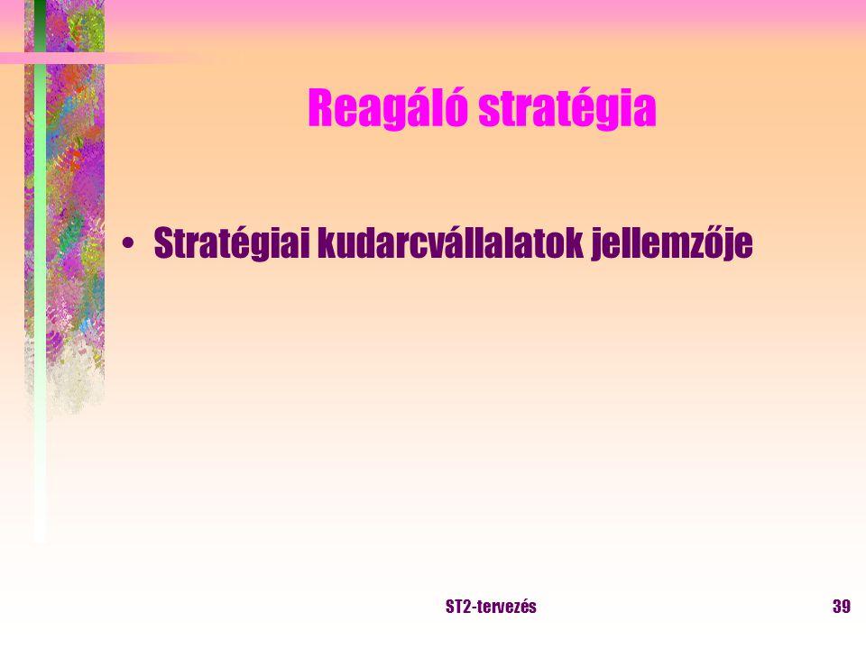 ST2-tervezés38 Elemző stratégia Cél: új termék kutatása, meglévő megtartása Jellemzői: előző kettő kombinációja