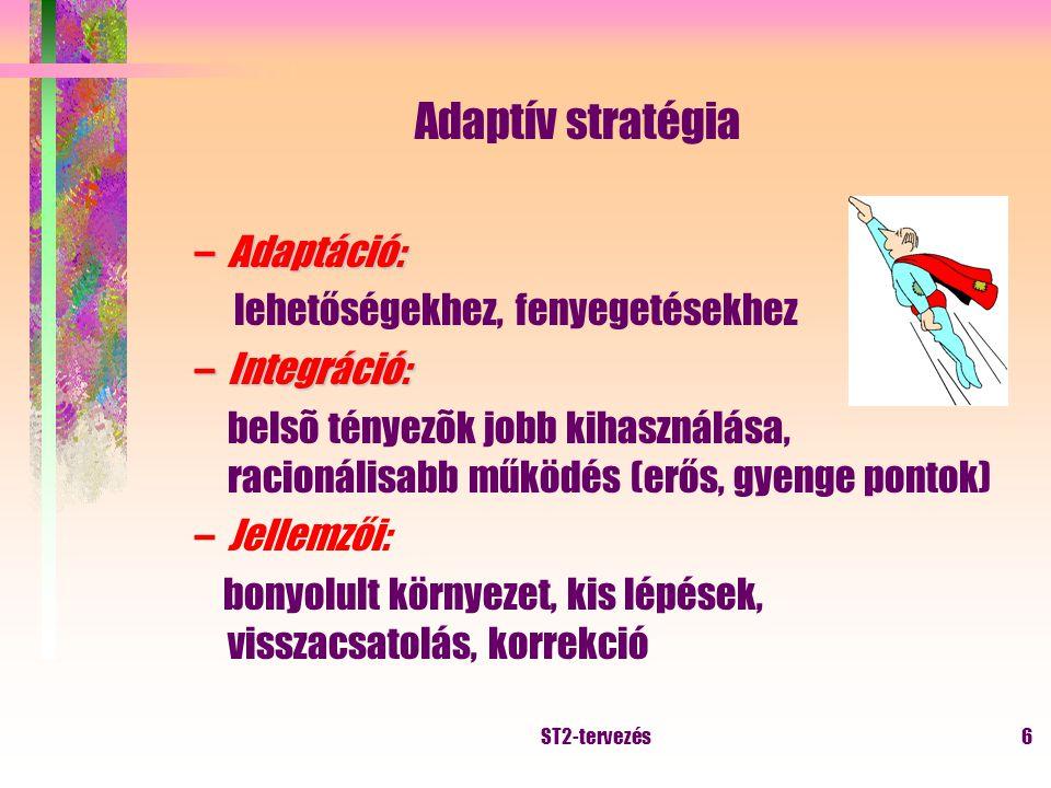 ST2-tervezés5 Vállalkozói típusú stratégia –Nem tervezési folyamat eredménye, a stratégiai fontosságú döntések meghozatala során alakul ki –Célja: növekedés