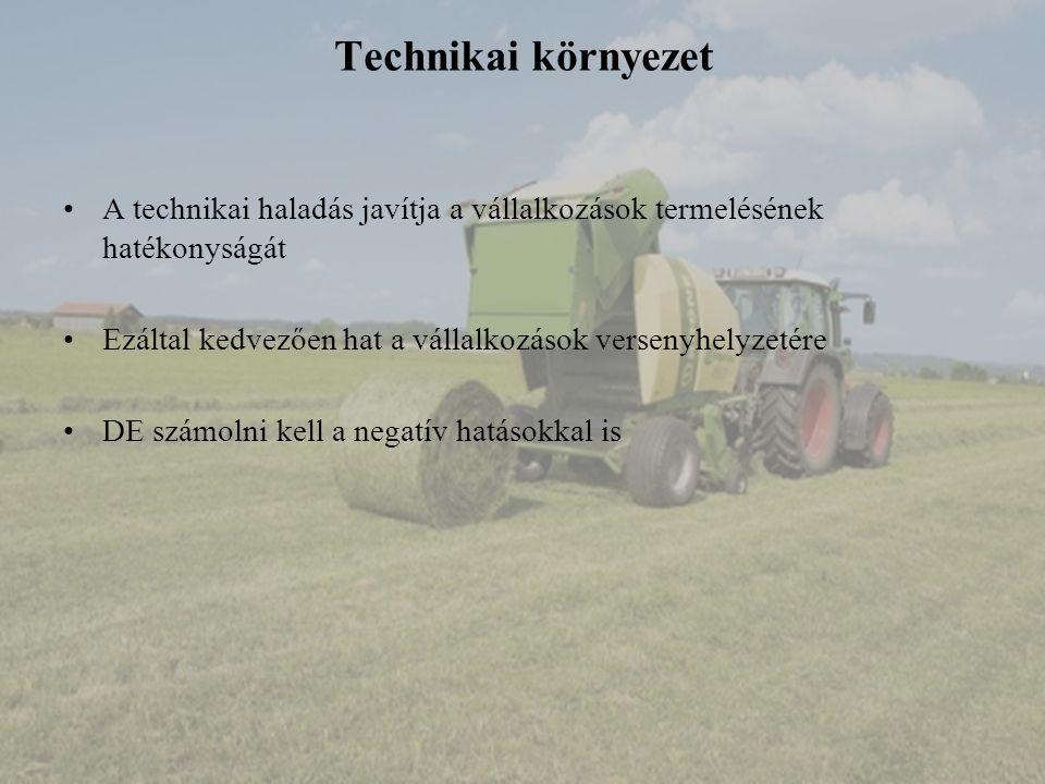 Technikai környezet A technikai haladás javítja a vállalkozások termelésének hatékonyságát Ezáltal kedvezően hat a vállalkozások versenyhelyzetére DE